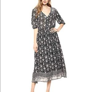 Lucky Brand Printed Peasant Black White Midi Dress